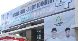 Posko pemenangan Mahyeldi-Audy yang sewa gedungnya dibayarkan oleh Kasatpol PP Padang sebagai perantara antara penyewa dengan pemilik.