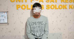 Pelaku MRY (35) ditangkap Satreskrim Polres Solok atas kasus pencabulan terhadap putri tirinya